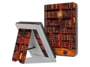 Stand Case for AllNew Kindle 10th Generation 2019 Kindle 8th Generation 2016 Premium PU Leather Protective Sleeve Cover with Card Slot and Hand Strap Library