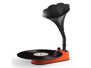 Record Player with Horn Speaker for 3345 RPM RecordsMini Gramophone Supporting Bluetooth Playback Orange