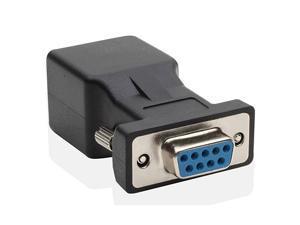 DB9 RS232 Female to RJ45 Female Adapter COM Port to LAN Ethernet Port Converter