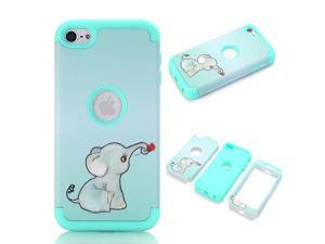 iPod Touch 6 CaseiPod Touch 5 CaseLovely Elephant SeriesGreen FullBody 3 in 1 Bumper Protective Case Cover Fit for Apple iPod Touch 5 6th GenerationSent Stylus and Screen Protector