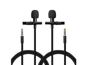 Lavalier Lapel Microphone Omnidirectional Condenser Mic with Easy Clip on System for Recording YouTube Interview Video Conference Podcast2 Mic Set