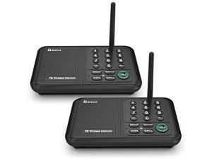 Wireless Intercom System 10 Channel 12 Mile Long Range FM Wireless Intercoms for Home Office Business 2 Stations Black