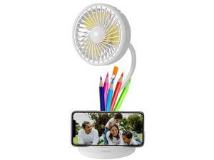 Desk Fan Lamp Combo  2600mAh Rechargeable Battery Powered USB Personal Fan 3 Speeds 3 Light Brightness Flexible Gooseneck Small LED Lamp Table Fan Compatible with AdapterPCPower Bank