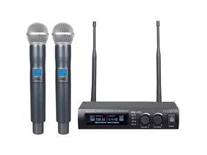 Metal Dual UHF Wireless Microphone Systeminp Metal Cordless Mic Set Long Distance 150200Ft16 Hours Continuous Use for Family PartyChurchSmall Karaoke Night WM200New WM200N