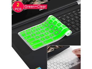 Pack Keyboard Cover Skin for 018017 Newest Acer Premium R11 Chromebook R 11 CB3131 CB313CB513TCB3131Chromebook R 13 CB531TChromebook 15CB3531 CB353CB5571 C910Clear+Green