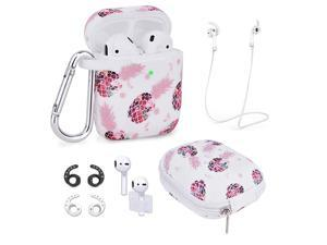 Airpods Case  7 in 1 Airpods Accessories Set Compatible with Airpods 1 2 Protective Silicone Cover Floral Print Cute Case White+Pineapple