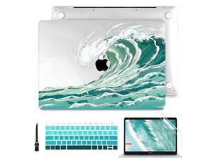 MacBook Air 13 Inch Case 2020 2019 2018 Release A2337 A2179 A1932Pattern Clear Hard Case Shell Cover with Keyboard Cover Screen Protector for New MacBook Air 13 Retina Touch ID Wave