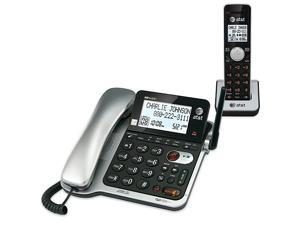 CL84102 DECT 60 Expandable CordedCordless Phone with Answering System and Caller IDCall Waiting 1 Corded and 1 Cordless HandsetSilver and Black