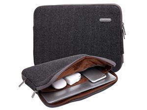 Herringbone Woollen WaterResistant for 17 Inch Laptop Sleeve Case Bag 17 Inches Black