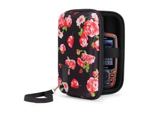 Travel Electronics Organizer 65 Inch Zipper Case with Hard Shell Case Exterior and Accessory Pocket Charger Organizer Accessory Organizer Cable Travel Organizer and More Floral