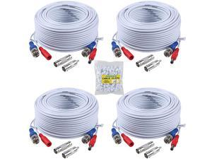 Security Camera Cable 4 30M 100ft AllinOne BNC Video Power Cables BNC Extension Wire Cord for CCTV Camera DVR Security System 4Pack White