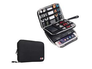 Double Layer Electronics OrganizerTravel Gadget Bag For CablesMemory CardsFlash Hard Drive and MoreFit For iPad Or TabletUp To 97Large Black