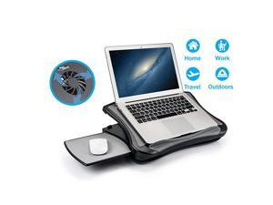 Laptop Lap Pad Laptop Stand with Attached Mouse Pad, Cushion and USB Cooling Fan, Non-Slip Heat Shield Tablet Computer Stand for Sturdy Work Station for Home, Office, Bed Sofa, Couch and Car