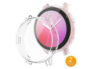 2Pack]  Compatible with Samsung Galaxy Watch Active 2 Screen Protector Case 40mm, Bumper Full Around Cover for Samsung Galaxy Watch Active2 40 (Clear, 40mm)