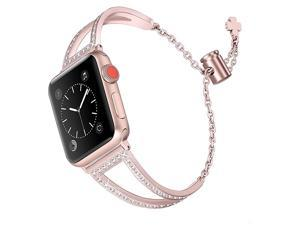 Bling Bands Compatible with Apple Watch Band 38mm 40mm iWatch Series 54321 Women Dressy Metal Jewelry Bracelet Bangle Wristband Stainless Steel Rose Gold