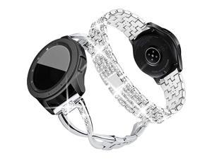 Compatible for Samsung Galaxy Watch 42mmGalaxy 3 41mmActive 2 Watch Band 40mm 44mm 2 Pack 20mm Women Jewelry Bling Metal Replacement Strap Silver