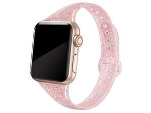 Sport Band Compatible with iWatch 38mm 40mm 42mm 44mm Shiny Bling Glitter Soft Slim Thin Narrow Small Replacement Silicone Strap Compatible for iWatch Series 6 5 4 3 2 1 SE Sport Edition Women
