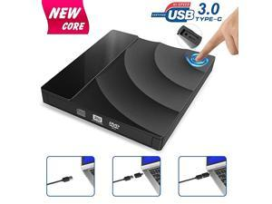 External CD DVD Drive Upgraded Version USB 30 Type C Dual Port DVD +RW Rewriter Burner with Touch Control High Speed Data TransferSlim Portable for Notebook Laptop PC WindowsMac OS etc