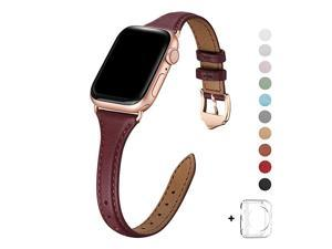 Leather Bands Compatible with Apple Watch 38mm 40mm 42mm 44mm Top Grain Leather Band Slim amp Thin Wristband for iWatch Series 5 amp Series 4321 Wine Band+Rose Gold Adapter 38mm 40mm