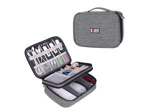 Electronic Organizer Double Layer Travel Gadget Storage Bag for Cables Cord USB Flash Drive Power Bank and Morea Sleeve Pouch for 79 iPad Mini MediumDenim Gray