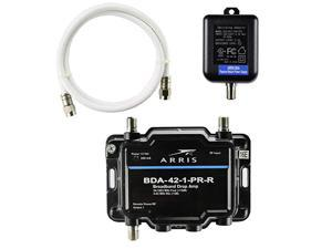 Arris 1Port BiDirectional Cable TV OTA Satellite HDTV Amplifier Splitter Signal Booster with Passive Return And Coax Cable Package