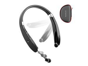 Foldable Bluetooth Headphones Wireless Neckband Headset with Retractable Earbuds Sports Sweatproof Noise Cancelling Stereo Earphones with Mic Black