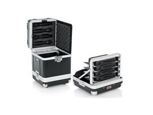 Cases Microphone Hard Case Holds 4 Wireless Microphone Systems with Half Rack Shelves and Storage for 4 Handheld Recievers GM4WR