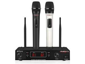 Wireless Microphone System  VHF Cordless Mic Set with 2 Handheld Mics Color Coding Easy Setup Best for Home Use Church YouTube Karaoke Party Events PTV1A