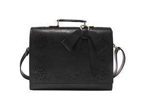 Briefcase for Women Laptop Bag for School Briefcase Crossbody Messenger Bags Vegan Leather Satchel Purse Fit 14 Inches Laptop Black
