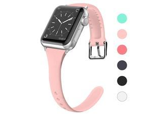 Compatible for Apple Watch Band 38mm 40mm 42mm 44mm, Silicone Slim Women iWatch Bands Wristband Compatible for Apple Watch Series 4 3 2 1 (Pink, 38mm/40mm)