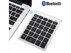 Bluetooth Number Pad Portable Wireless Bluetooth 28Key Numeric Keypad Keyboard Extensions for Financial Accounting Data Entry for Laptop Surface Pro Tablets Windows and More Silver