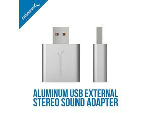 Aluminum USB External Stereo Sound Adapter for Windows and Mac. Plug and Play No Drivers Needed. [Silver] (AU-EMAC)