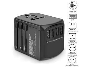 Travel Adapter International Power Adapter Universal Plug Adaptor with 4 USB Ports High Speed 45A Worldwide Wall Charger All in One AC Socket for USA UK AUS Europe Asia Cell Phone Laptop