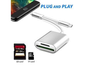 2 in 1 SD Card Camera Reader  TF amp SD Card Reader Adapter Dual Slot Trail Game Camera Viewer Memory Card Reader Compatible with iPhoneiPadMacBookSamsung amp More USB C Devices No App Needed