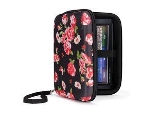 Hard Shell Electronic Organizer Travel Case 75 Inch with Weather Resistant Exterior and Large Mesh Accessory Pocket Compatible with Garmin GPS Chargers and More Electronics Floral
