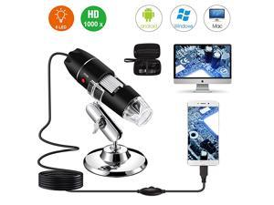 USB Digital Microscope 40X to 1000X  8 LED Magnification Endoscope Camera with Carrying Case Metal Stand Compatible for Android Windows 7 8 10 Linux Mac