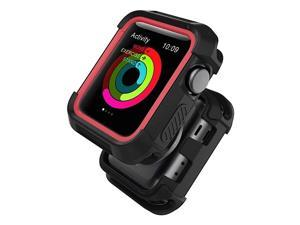 with Watch Case 42mm Shock Proof Bumper Cover Scratch Resistant Protective Rugged Case Replacement for Series 321 42mm Nike+ BlackRed