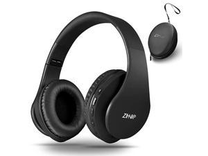 Bluetooth Headphones OverEar with Deep Bass Foldable and Wired Stereo Headset Buit in Mic for Cell Phone PCTV PCLight Weight for Prolonged Wearing Black