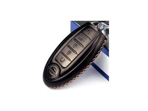 Calfskin Genuine Leather 20082018 Nissan Altima Maxima Murano Pathfinder Rogue Armada Key fob Cover case Holder only for 5 Buttons Black Color 5 Buttons