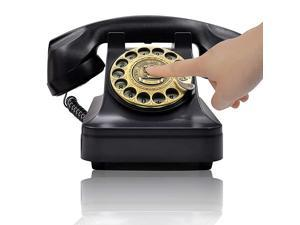 Retro Rotary Landline Phone for Home Vintage Rotary Dial Phone Old Fashion Telephone Corded Phone with Hands Free FunctionRetro Black