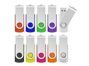 64GB USB 20 Flash Drives 10 PCS Memory Stick Swivel Thumb Drives Pen Drives Mixcolored