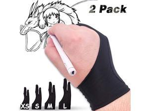 Artist Palm Rejection Glove Drawing Glove Right Left Hand for iPad Sketching Drawing Tablet Glove Large 2 PCS