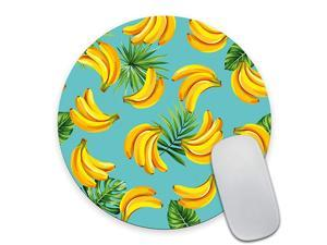 Round Gaming Mouse Pad Custom Design Tropical Palm Leaves and Bananas NonSlip Rubber Mouse Pads Cute Mat Size 79 x 79 x 012 Inch