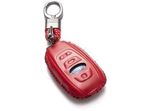 Subaru Leather Keyless Entry Remote Control Smart Key Case Cover with a Key Chain for 2019 Subaru Forester Impreza Outback WRX BRZ XV Crosstrek 4Button Red