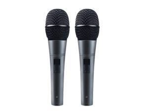 Professional Dynamic Cardioid Vocal Wired Microphone with 19ft XLR Cable  AUK04D 2 Pieces Metal Handheld Mic Plug And Play for Stage Performance Karaoke Public Speaking Home
