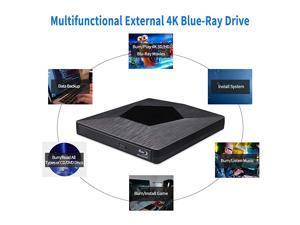 External 3D Blu Ray DVD Drive Burner  Ultra Slim USB 30 and TypeC Blu Ray BD CD DVD Burner Player Writer Reader Disk for Mac OS Windows xp7810 Laptop PC Black