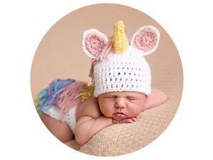 Newborn Photography Props Crochet Knitted Unicorn Baby Photo Costume Unisex Baby Cap Outfit Pink Fits 26 Months