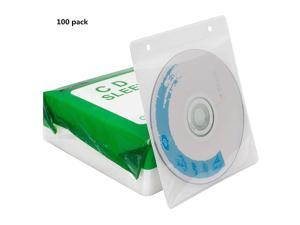 CD/DVD/BluRay Sleeves,Double-Sided Refill Plastic Sleeve for CD and DVD Storage Binders,100 Pack (White)