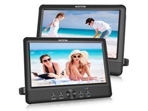"""10.5"""" Two DVD Players Dual Screen Portable Twins CD Player for Car Play a Same or Two Different Movies with 5-Hour Rechargeable Battery, 2 Mounting Brackets, Support USB/SD Card Reader"""