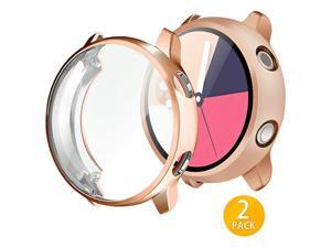 2Pack  Compatible with Galaxy Watch Active Case 40mm Soft TPU Bumper Full Around Screen Protector Cover for Samsung Galaxy Watch Active 40mm 2 Packs Rose Gold